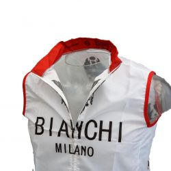 Windvest Mouwloos wit/rood met Bianchi print
