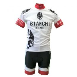 Wielerkledingset Zomer wit/rood met Bianchi print