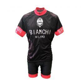 Wielerkledingset Zomer zwart/rood met Bianchi print