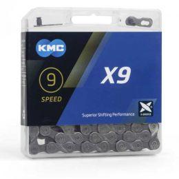 KMC 9 speed ketting X9 grijs race en mountainbike114 schakels