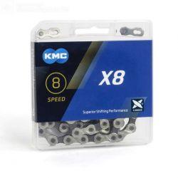 KMC Ketting X8 silver grijs half vernikkeld  7 8 speed