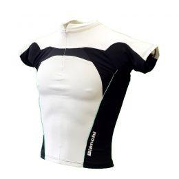 Dames wielershirt Bianchi Sport wit/zwart/celeste voorzijde