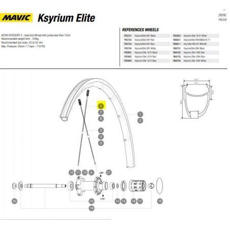 spaak achterwiel Mavic Ksyrium Elite 2011 2016  301mm