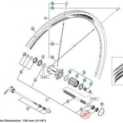 Conus & Sluitmoer Rechts Shimano achterwiel WH-RS50 WH-RS61 WH-RS21 WH-R31