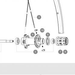 lagerset 609 / 6001 (5) voor Mavic wielen met FTSL cassettebody / snelspanner