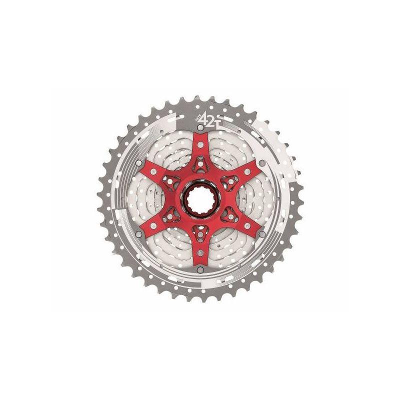 cassette 11S 11-42T metallic silver red Shimano / SRAM | Sunrace csms8
