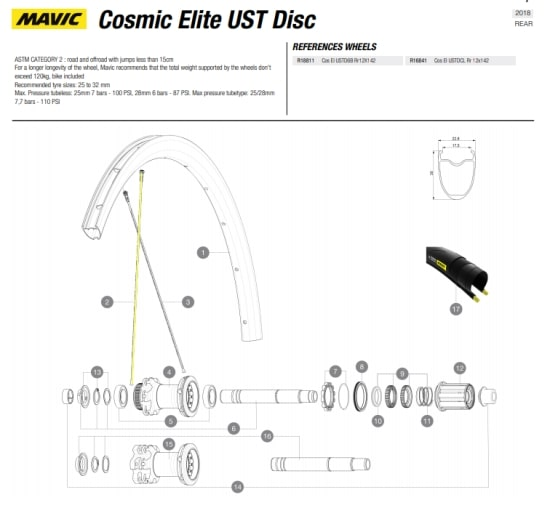 spaak Mavic Cosmic Elite disk 2015 achterwiel