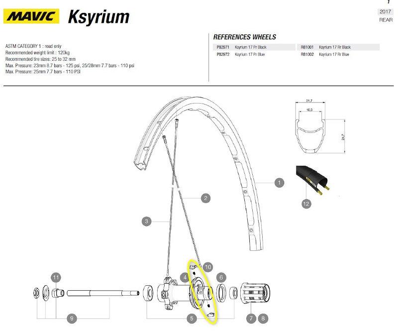 palset met veertjes achterwiel Mavic Ksyrium 2017