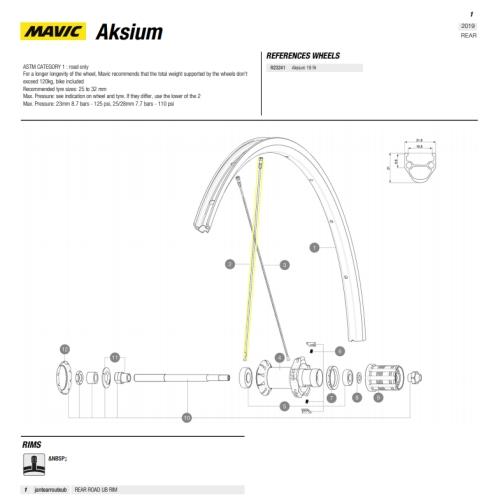 Ronde zwarte spaken met rechte kop voor  Mavic Aksium achterwiel bouwjaar 2019